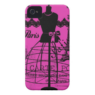 Girly Paris in Hot Pink Case-Mate iPhone 4 Case