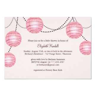 Girly Party Lantern Baby Shower Invitation