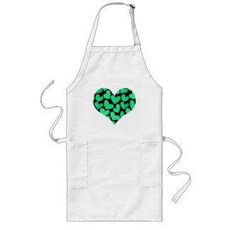 Girly pastel mint black love hearts pattern long apron