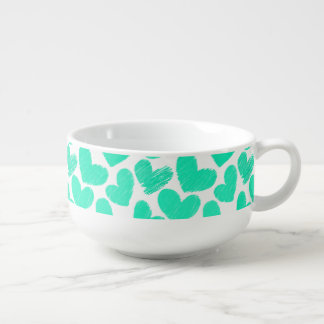 Girly pastel mint love hearts pattern soup bowl with handle