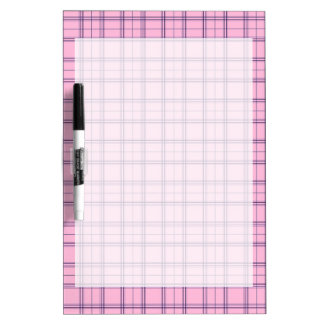 Girly Pastel Pink and Purple Plaid Pattern Dry Erase Board