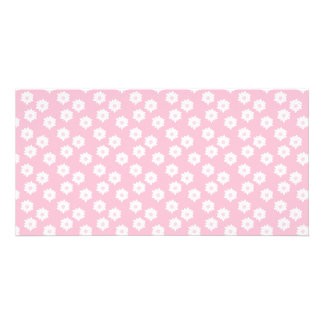 Girly Pastel Pink Floral Pattern Picture Card