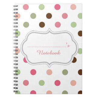 Girly, Pastel, Pink, Green, Brown, Polka Dots Notebook