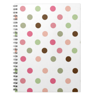 Girly, Pastel, Pink, Green, Brown, Polka Dots Notebooks
