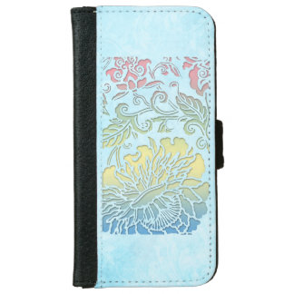Girly Pastel Sculpted Floral iPhone 6 Wallet Case