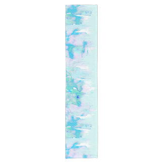 Girly Pastel Teal and Blue Watercolor Paint Drips Short Table Runner