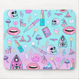Girly Pastel Witch Goth Pattern Mouse Pad
