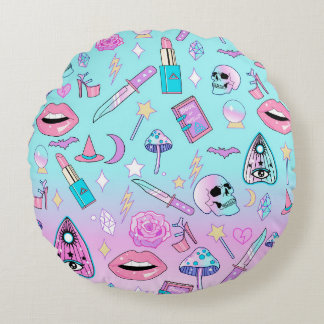Girly Pastel Witch Goth Pattern Round Pillow