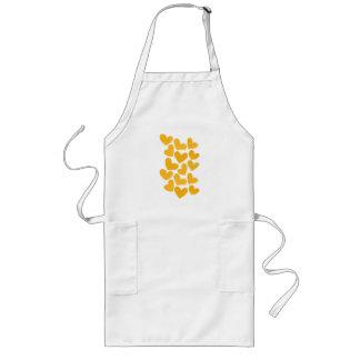Girly pastel yellow love hearts pattern long apron