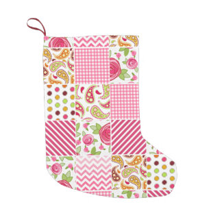 Girly Patchwork Inspired Christmas Stocking