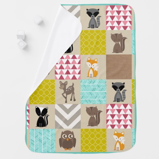 Girly Patchwork Inspired Woodland Animals Receiving Blankets
