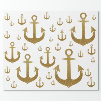 girly pattern of golden anchors nautical