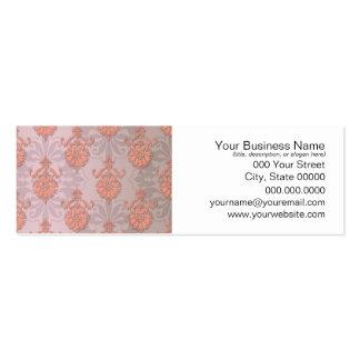 Girly Peach Damask Mini Business Card