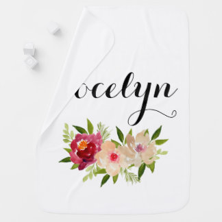 Girly peach flower custom name baby blanket