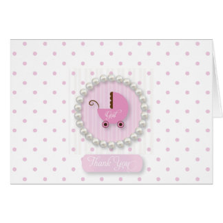 Girly Pearls and Polka dots baby Thank You cards