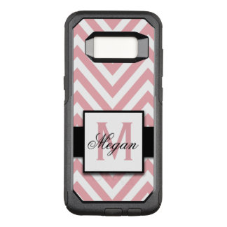 GIRLY, PERSONALIZED CORAL PINK CHEVRON PATTERN OtterBox COMMUTER SAMSUNG GALAXY S8 CASE
