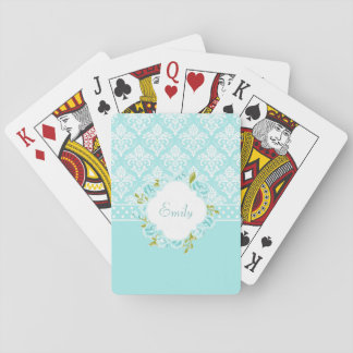 Girly Personalized Mint Damask, Dots and Flowers Playing Cards