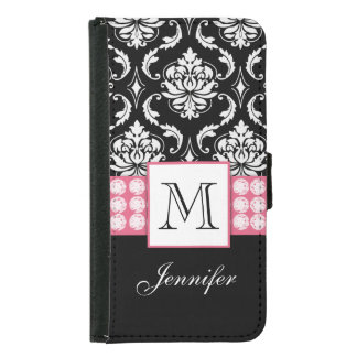 Girly Personalized Pink Black Damask Diamonds Samsung Galaxy S5 Wallet Case