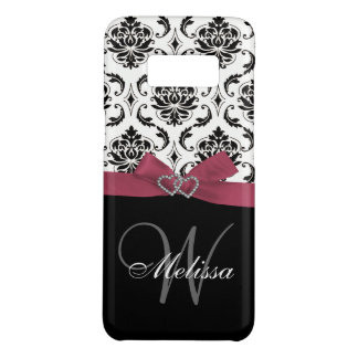 Girly Personalized Pink Black Damask Monogram Case-Mate Samsung Galaxy S8 Case