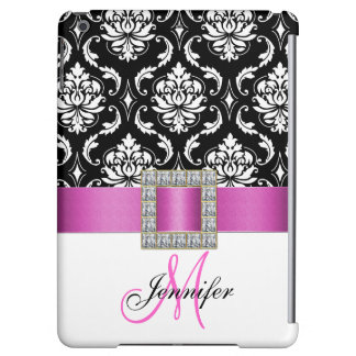 Girly Personalized Pink Black Damask Pattern Case For iPad Air