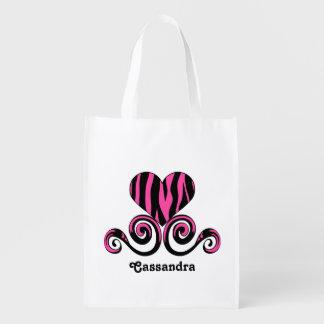 Girly personalized zebra striped heart grocery bag