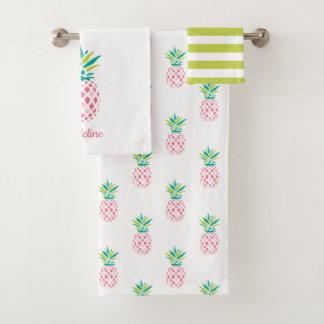 Girly Pineapples Monogrammed Bath Towel Set