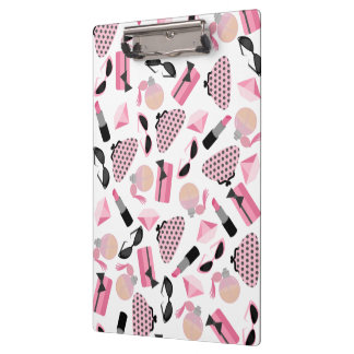 Girly Pink Accessories Pattern Clipboard