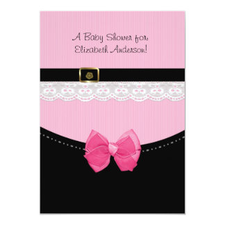 """Girly Pink And Black Baby Shoes Baby Shower 5"""" X 7"""" Invitation Card"""
