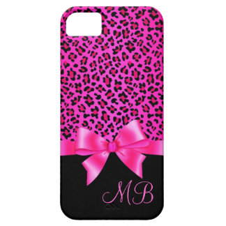 Girly Pink and Black Leopard Print Elegant Classy iPhone 5 Cover