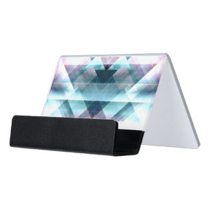 Girly business card holders zazzle girly pink and blue abstract geometric pattern desk business card holder colourmoves