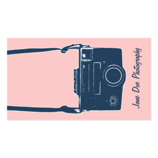 Girly Pink and Blue Vintage Camera Business Card Pack Of Standard Business Cards
