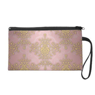 Girly Pink And Gold Damask Pattern Wristlet Clutches