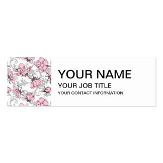 Girly Pink and Gray Vintage Floral Pattern Mini Business Card