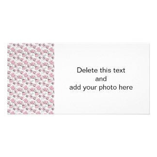 Girly Pink and Gray Vintage Floral Pattern Picture Card