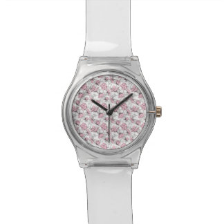 Girly Pink and Gray Vintage Floral Pattern Wrist Watches