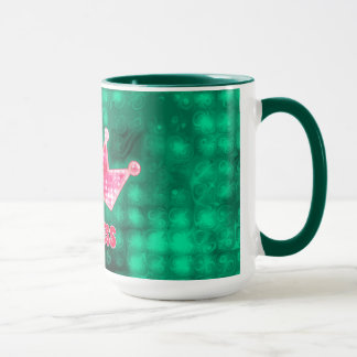 Girly Pink and Green Glitter Princess and Tiara Mug