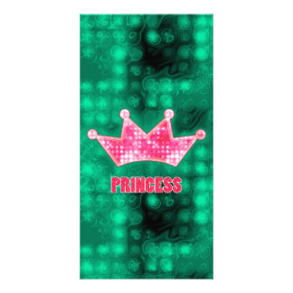 Girly Pink and Green Glitter Princess and Tiara Picture Card
