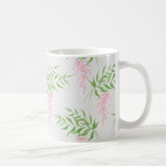 Girly Pink and Green Watercolor Flower Mug