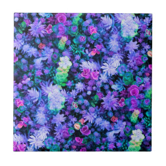 Girly Pink and Purple Floral Succulents Tile