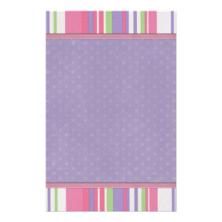 Girly Pink and Purple Stripe Trendy Stationery