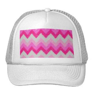 Girly Pink and White Bohemian Chevron Pattern Mesh Hat