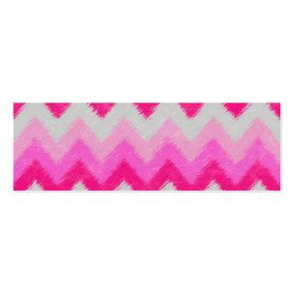 Girly Pink and White Bohemian Chevron Pattern Mini Business Card