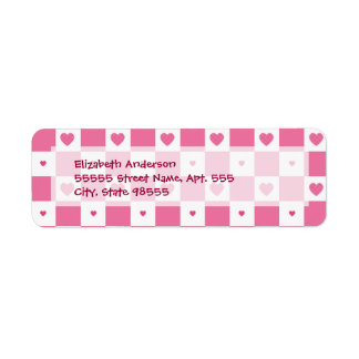 Girly Pink and White Checkerboard Hearts Return Address Label