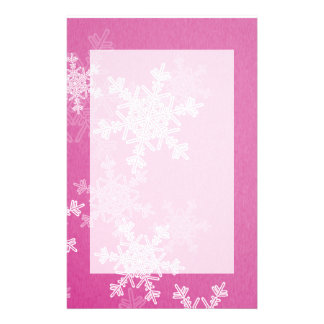 Girly pink and white Christmas snowflakes Custom Stationery