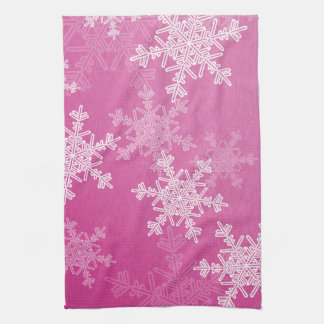 Girly pink and white Christmas snowflakes Kitchen Towel