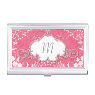 Girly Pink and White Cute Victorian Style Business Card Case