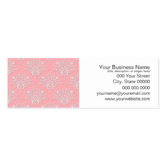 Girly Pink and White Damask Pattern Pack Of Skinny Business Cards