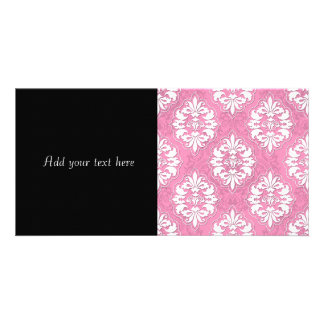 Girly Pink and White Damask Photo Greeting Card