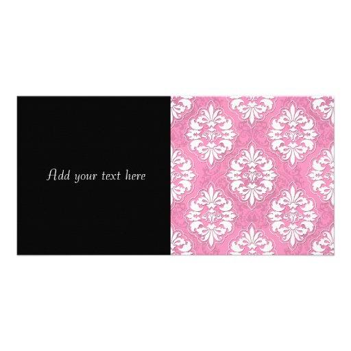 Girly Pink and White Damask Photo Greeting Card