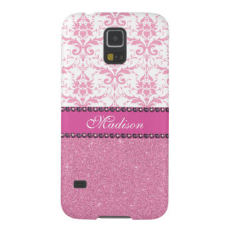 Girly pink and white Damask, pink glitter Name Case For Galaxy S5